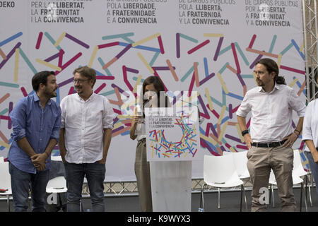Zaragoza, Spain. 24th Sep, 2017. General view of the Public Office Assembly held by coalition Unidos Podemos at - Stock Photo