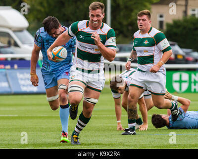 London, UK. 24th September, 2017. Rayn Smid in action, Ealing Trailfinders v London Scottish in a Greene King IPA - Stock Photo