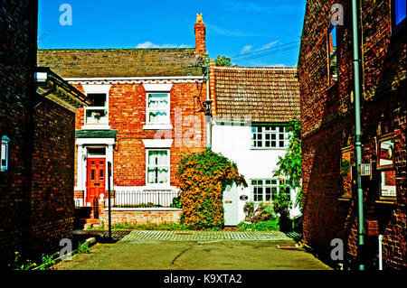 Cottages in High Church Wynd, Yarm on Tees - Stock Photo