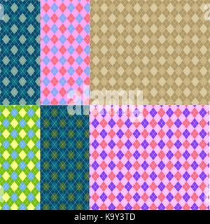 Tartan or plaid pattern set. Seamless tartan texture. Vector tartan background collection.. - Stock Photo