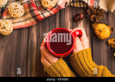 Fall setting woman hands holding hot tea cup with vintage fall blanket on wooden background and pumpkin deco,cosy - Stock Photo
