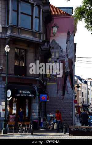 famous cafe bar le Lombard in Brussels center - Stock Photo