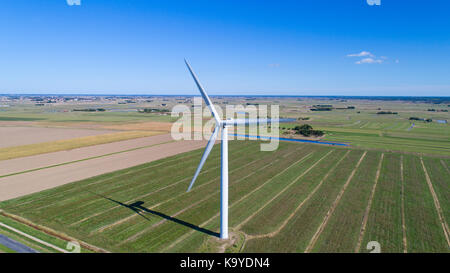 Aerial photography of wind turbines in a field near Bouin, Vendee - Stock Photo