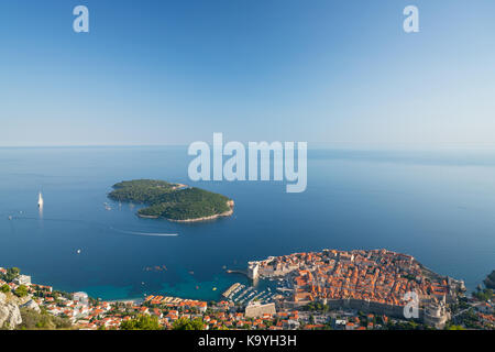 Old Town Dubrovnik, Lokrum Island and the sea landscape - Stock Photo