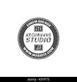 Recording studio vector label, badge, emblem logo with musical instrument. Stock vector illustration isolated on - Stock Photo