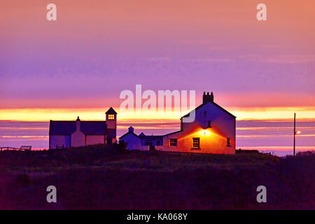 Seaton Sluice The Old Watch house looking out over the North sea early dawn - Stock Photo