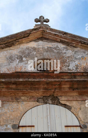 Corsica: details of the Chapelle Sainte Lucie, Saint Lucia Chapel, a little catholic church in the heart of the - Stock Photo