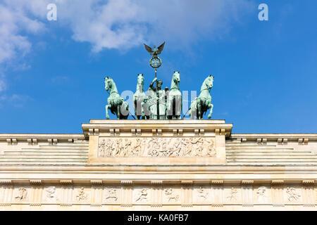 Quadriga on Brandenburg Gate, Berlin, Germany - Stock Photo
