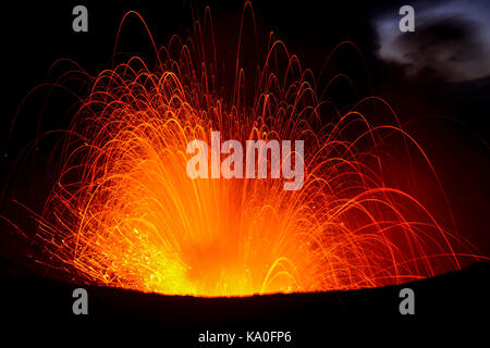 Eruption, volcanic eruption, volcano Yasur, Tanna Island, Vanuatu, South Sea, Oceania - Stock Photo