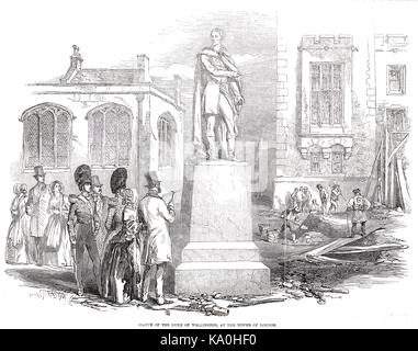 Statue of Duke of Wellington at the Tower of London, 1848 - Stock Photo
