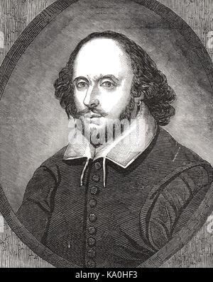 William Shakespeare, 19th Century engraving of the Chandos Shakespeare - Stock Photo