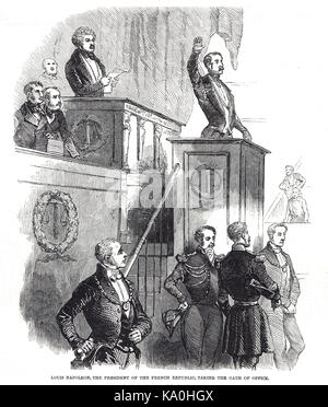 Louis Napoleon, first & only president of the second French Republic, taking oath of office in front of the French - Stock Photo