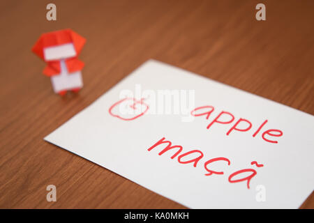 Portuguese; Learning New Language with Fruits Name Flash Cards - Stock Photo