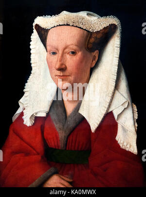 Portrait of Margareta van Eyck by Jan van Eyck (c.1390-1441), oil on panel, 1439. Van Eyck was an early Netherlandish - Stock Photo