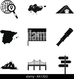 Navigation on the map icons set, simple style - Stock Photo