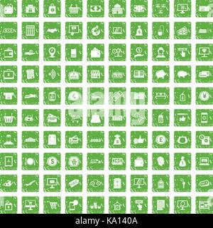 100 payment icons set grunge green - Stock Photo