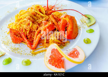 delicious meat italian pasta with crab - Stock Photo