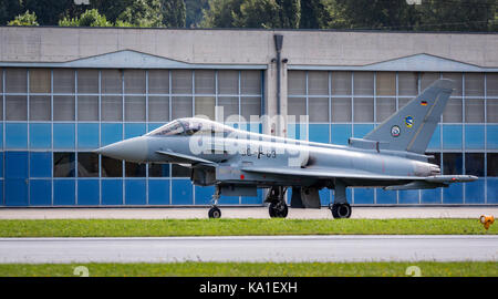 Eurofighter Typhoon from the German Air Force, Sion Airshow, Sion, Valais, Switzerland - Stock Photo
