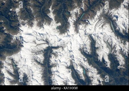 View from the International Space Station of the Matterhorn in the Alps bordering Switzerland and Italy from Earth - Stock Photo