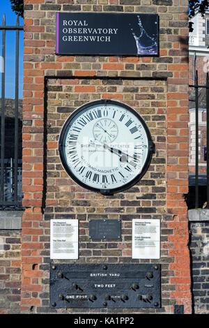 Shepherd Gate Clock at Royal Greenwich Observatory - Stock Photo