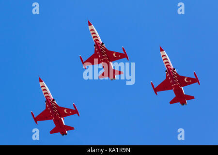 Northrop (Canadair) NF-5A-2000 (CL-226) of the Turkish Air Force display team Turkish Stars arriving to participate - Stock Photo