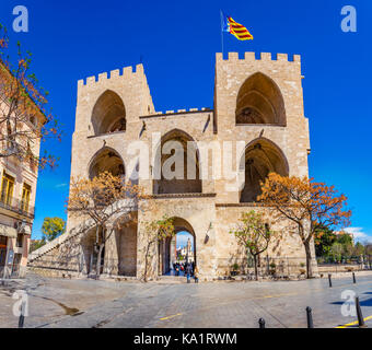 Torres de Serrano towers in Valencia old city door at spain Stock Photo, Roya...