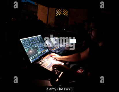 sound engineers during show - Stock Photo