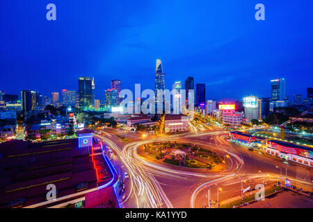 Ho Chi Minh city, Vietnam - June 26, 2015: Impression, colorful, vibrant scene of Asia traffic, dynamic, crowded - Stock Photo