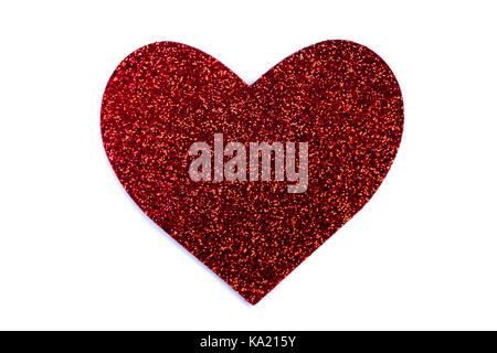 red glitter heart isolated on white for valentines day - Stock Photo