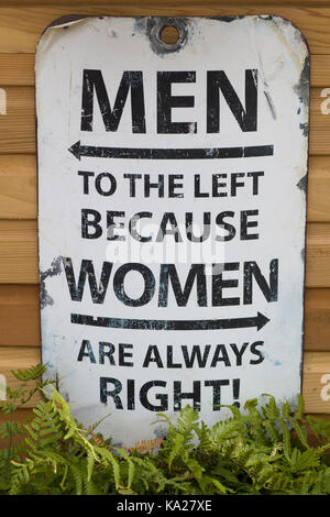 men to the left because women are always right sign - Stock Photo