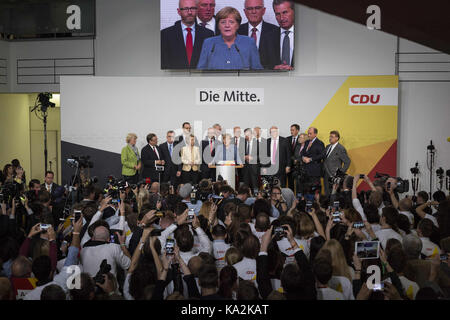Berlin, Germany. 24th Sep, 2017. German Chancellor and Head of the Christian Democratic Union party (CDU), Angela - Stock Photo