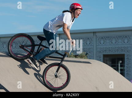 Sochi, Russia. 24th Sep, 2017. A participant competes in a BMX freestyle championship in Sochi's Olympic Park. Credit: Artur Lebedev/TASS/Alamy Live News