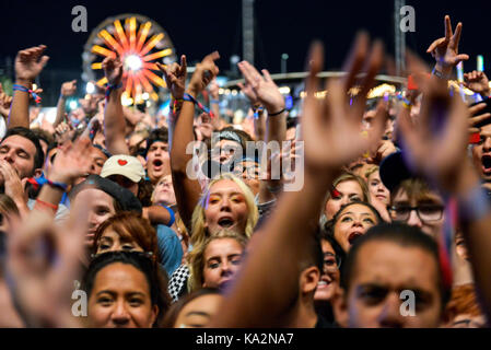 Las Vegas, Nevada - September 23, 2017 - Excited crowd at the Life is Beautiful festival day 2 in downtown Las Vegas - Stock Photo