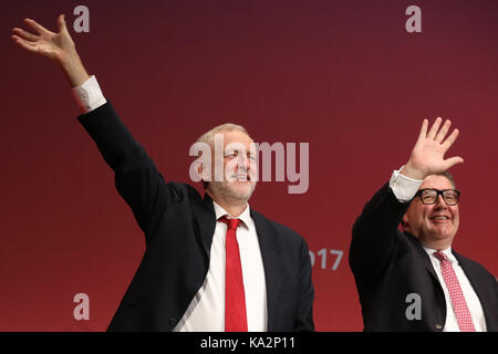 Brighton, UK. 24th September, 2017. Jeremy Corbyn, leader of Britain's opposition Labour party and Deputy Tom Watson - Stock Photo