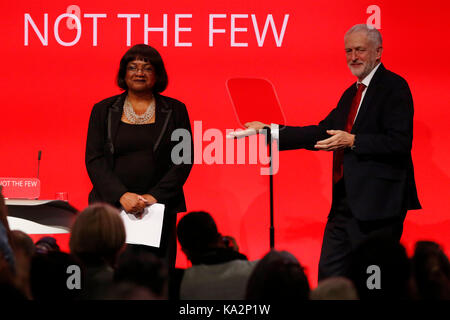 Brighton, UK. 24th September, 2017. Jeremy Corbyn, leader of Britain's opposition Labour party congratulates Diane - Stock Photo