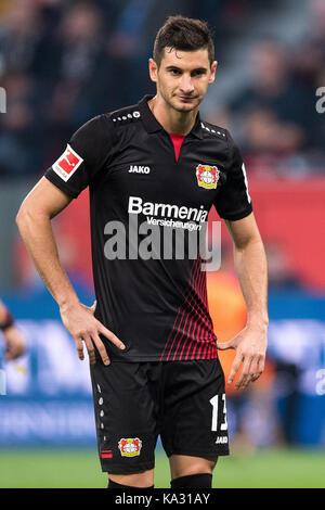 Leverkusen, Germany. 24th Sep, 2017. Leverkusen's Lucas Alario in action during the German Bundesliga football match - Stock Photo
