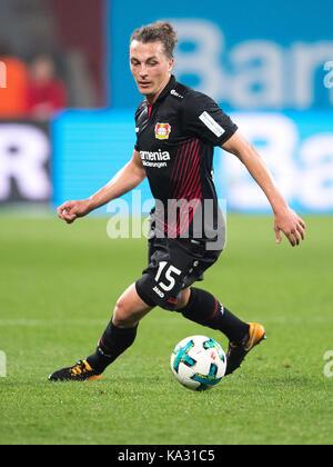 Leverkusen, Germany. 24th Sep, 2017. Leverkusen's Julian Baumgartlinger on the ball during the German Bundesliga - Stock Photo