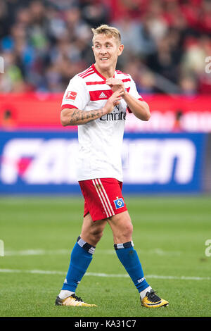 Leverkusen, Germany. 24th Sep, 2017. Hamburg's Lewis Holtby in action during the German Bundesliga football match - Stock Photo