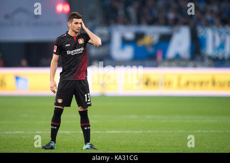 Leverkusen, Germany. 24th Sep, 2017. Leverkusen's Lucas Alario during the German Bundesliga football match between - Stock Photo