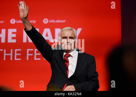 Brighton, UK. 25th Sep, 2017. John McDonnell Labour MP for Hayes and Harlington and the Shadow Chancellor of the - Stock Photo