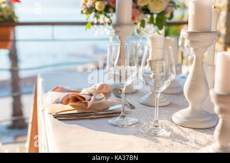 table decorated with flowers  - Stock Photo