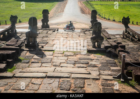 Walkway on top of the Elephant Terrace, Angkor Thom, Angkor Archaeological Park, Siem Reap, Cambodia - Stock Photo