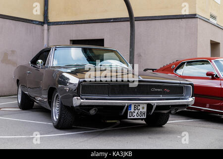 Laupheim, Germany - September 24, 2017: Dodge Charger oldtimer car at the US Car Meeting event on September 24, - Stock Photo