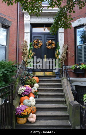 Back Bay door fronts decorated for Autumn in Boston, Massachusetts - Stock Photo