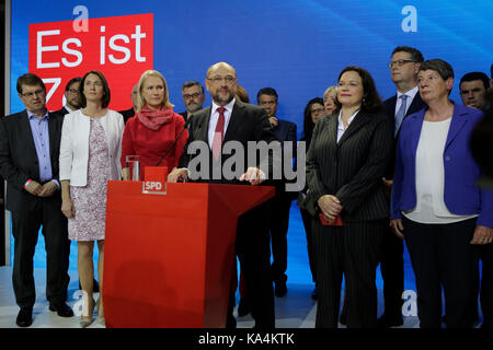 Martin Schulz addresses the party members.He is surrounded from left to right by Katarina Barley, theMinister of - Stock Photo