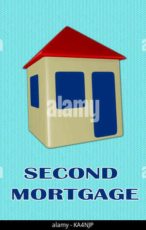3D illustration of 'SECOND MORTGAGE' title under a house, isolated on pale blue. - Stock Photo