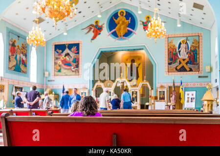 Silver Spring, USA - September 16, 2017: Inside, interior of St. Andrew Ukrainian orthodox cathedral near Washington - Stock Photo