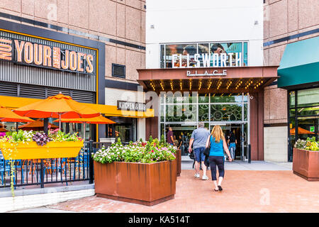 Silver Spring, USA - September 16, 2017: Downtown area of city in Maryland with people entering Ellsworth place - Stock Photo