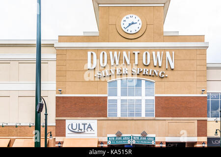 Silver Spring, USA - September 16, 2017: Downtown area of city in Maryland with large sign on mall building and - Stock Photo