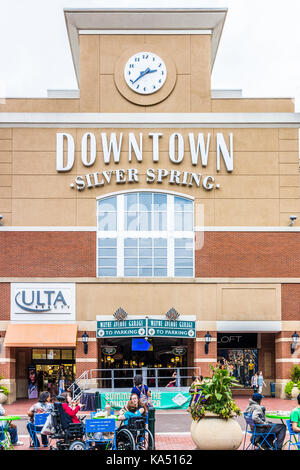 Silver Spring, USA - September 16, 2017: Downtown area of city in Maryland with large sign on shopping mall building - Stock Photo